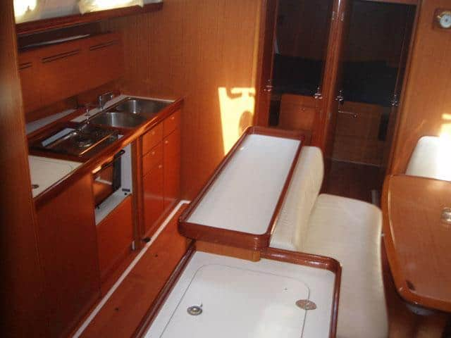 Beneteau Cyclades 50.5/ Saloon & Kitchen area (real photo from Sofia IV)