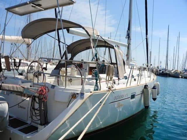 Beneteau Oceanis 473 on the dock in Greece!