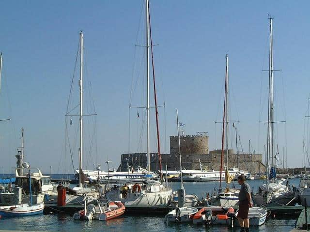 The Galazio Sailing meeting point, for Mandraki port in Rhodos Island, is directly to the boat.
