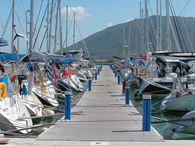 The Galazio Sailing meeting point, for Lefkas yacht charter base, is directly onto the yacht.