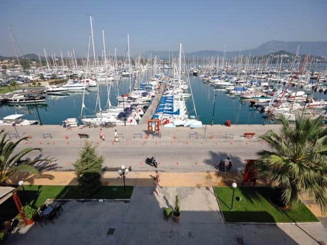 The Galazio Sailing meeting point for Gouvia marina is directly to your yacht.
