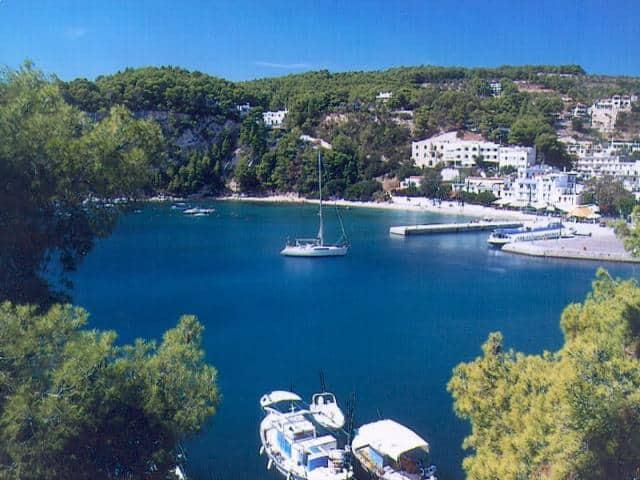 Patitiri main port viewed from Alonissos island/ Sporades sailing area.