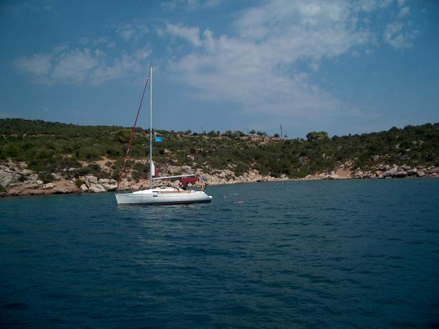 Anchoring in Soupia settlement, Poros island.