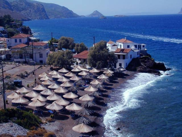 Hydra island consists of pebbly, sandy beaches and coves. Here, you may view Vlychos beach in Hydra island!