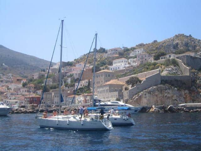 Sailboats while sailing Hydra island & -ArgoSaronic- islands in Greece.