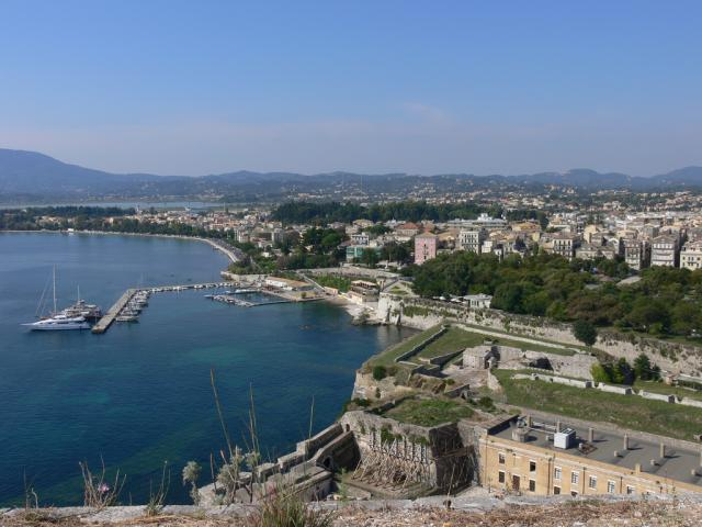View over Corfu town from Old Venetia Fort/ Ionian sailing area.