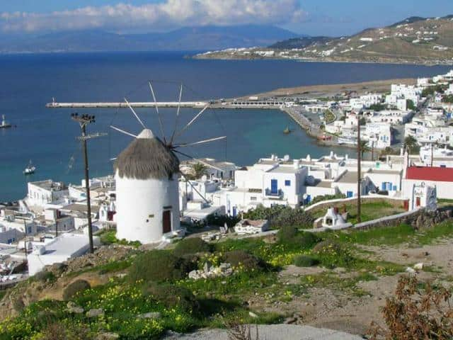 """Mykonos is a """"must-see"""" island for all those planning to sail the Cyclades islands! Here, you may view Mykonos old & new harbour."""
