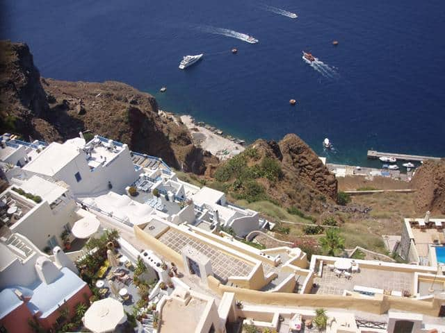 Do not forget to visit the old harbour of Santorini! You can reach it either through a narrow path with approximately 590 steps or the cable car (more convenient!).