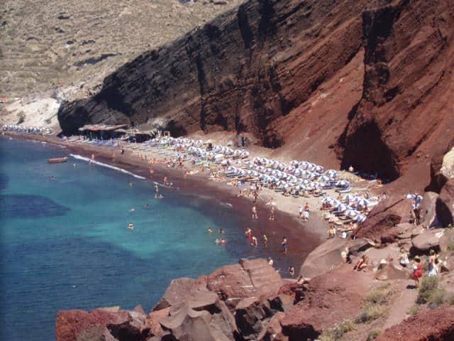 Red beach in Santorini island, Cyclades Greece.