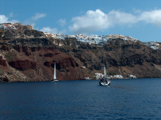 Sailing in Santorini island (Caldera side).