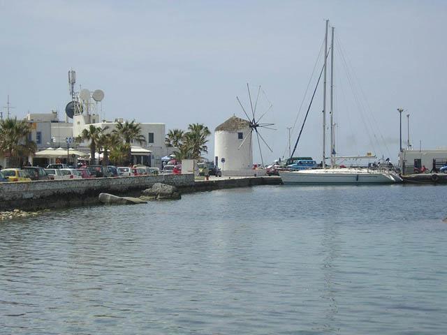 Mooring places in Paroikia port, Paros island.