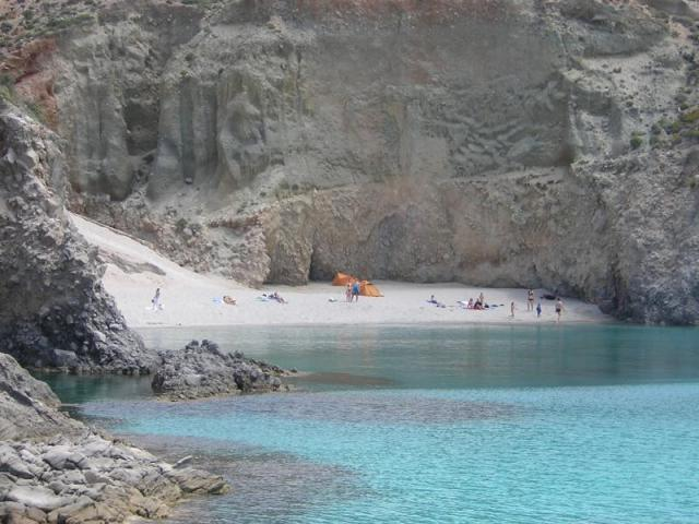 For those who enjoy the beach, the sun and the swimming, Milos will not disappoint you! Here is Tsigrado beach in Milos island.