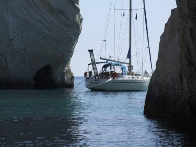 Anchoring, for a swim stop, while sailing Milos island!