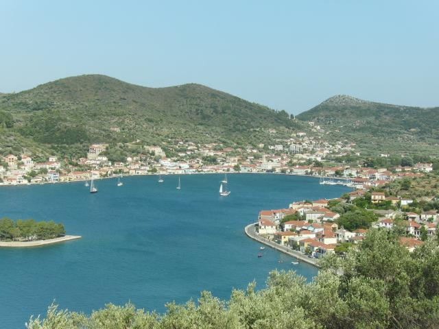 View of Vathi port in Ithaki island/ Ionian sailing area.