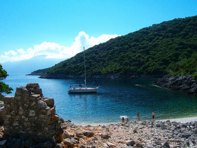 Nice anchorage place in Ormos Andreou in Ithaki/ Ionian.
