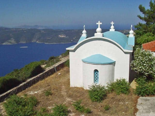 Overlooking the bay from a church in Ithaki/ Ionian sailing area.