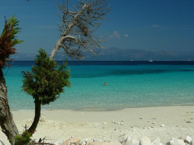 Vrika beach in Antipaxos island, Greece.