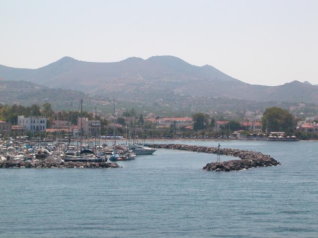 Mooring places in Perdika port in Aigina, Greece.