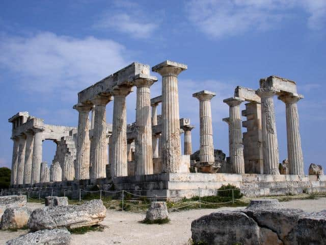 The Temple of Aphaia in Aigina island, Greece.