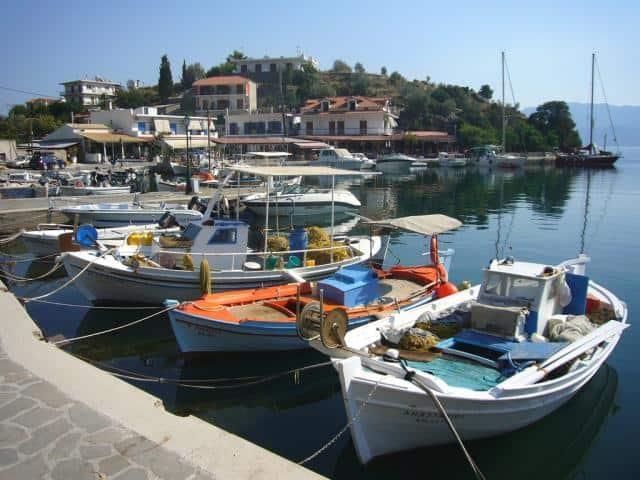 Milos port in the tiny island of Agistri in the Saronic Gulf, Greece.