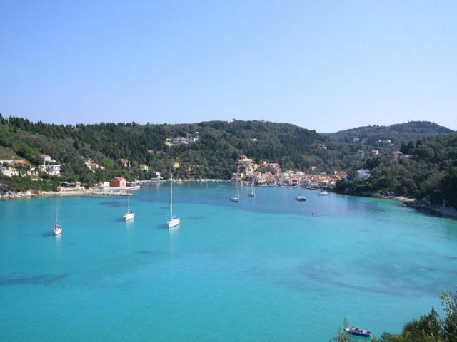 Anchored in Lakka bay in Paxoi island/ Ionian Greece.